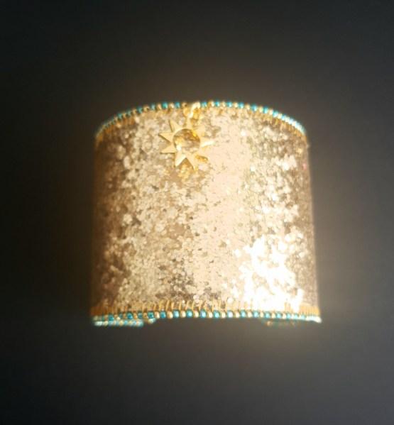 Manchette et manchon réversible doré et vert Solal Bijoux Haute Fantaisie