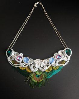 Collier plastron plumes vert bleu bordeau et argent Solal Bijoux Haute Fantaisie