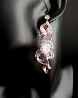Boucles d'oreilles rose et argent Solal Bioux Haute Fantaisie