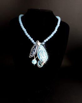 collier bleu blanc et argent Solal Bijoux Haute Fantaisie