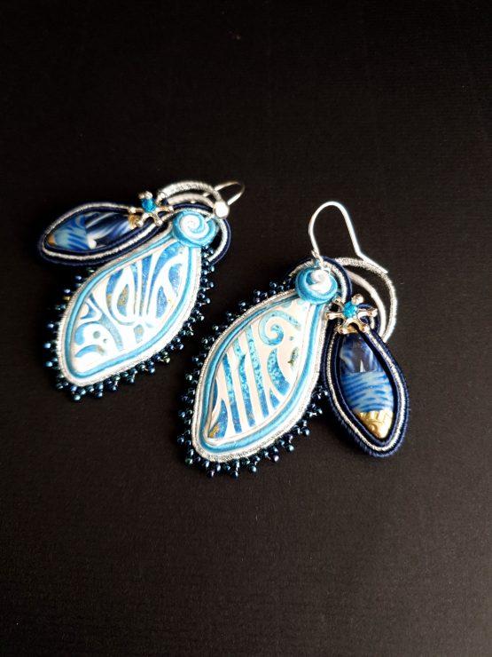 Boucles d'oreilles bleu blanc et argent Solal Bijoux Haute Fantaisie