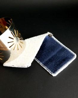 Manchette et manchon réversible bleu marine et blanc Solal BIjoux Haute Fantaisie