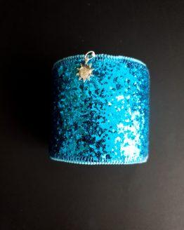 Manchette et manchon réversible bleu turquoise et blanc Solal Bijoux Haute Fantaisie