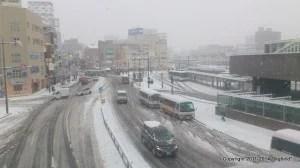 雪景色の岡山