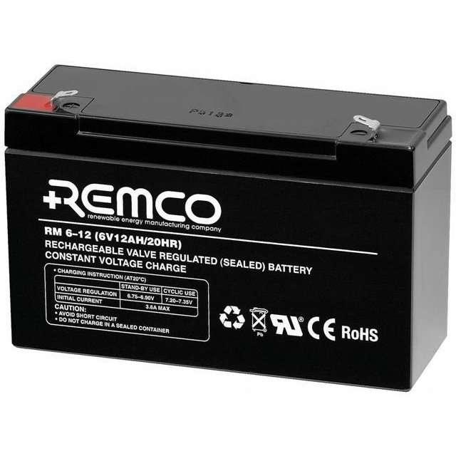 REMCO Standby AGM RM612 6Volt 12AH  Solar Batteries Online