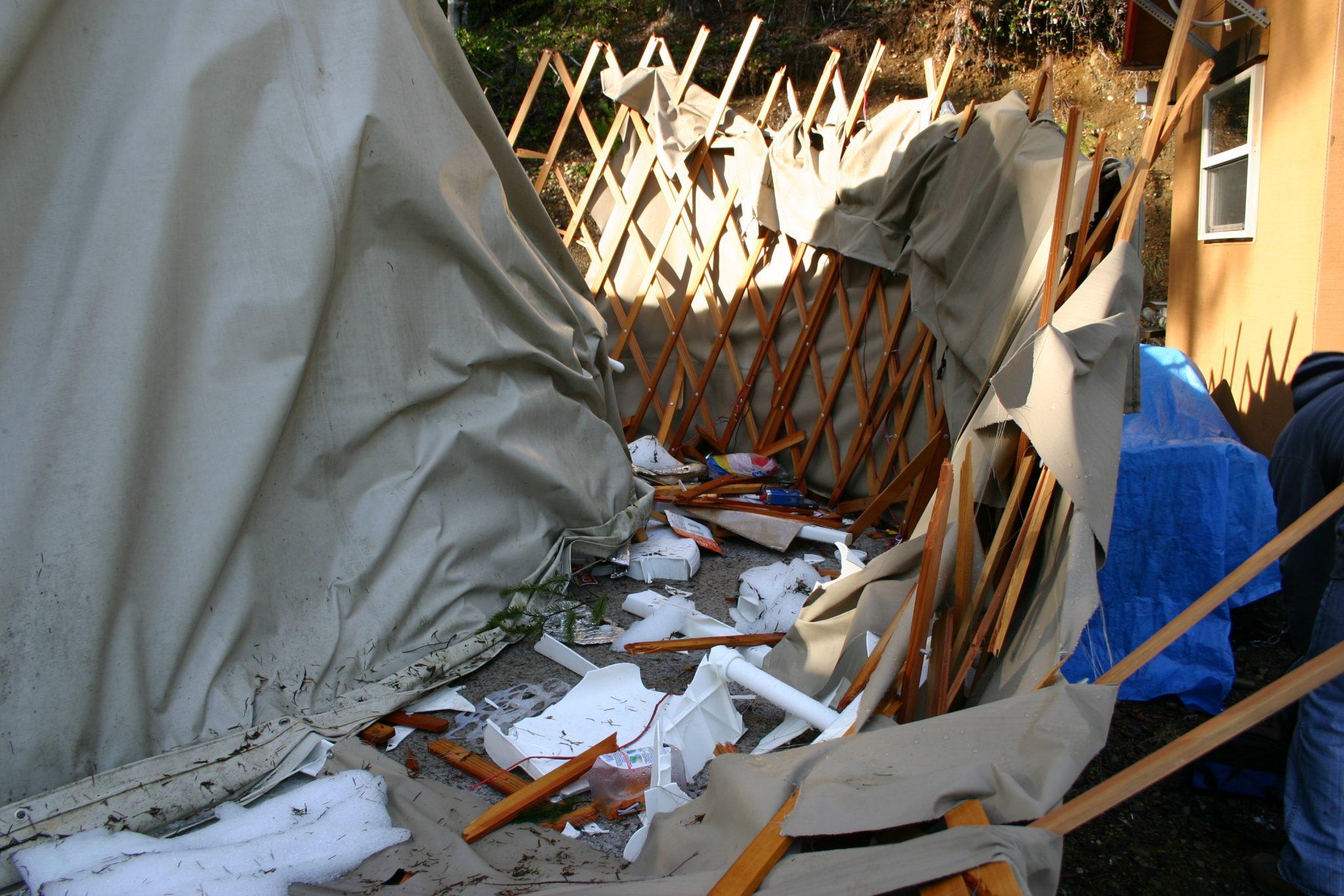 smashed yurt