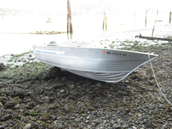 Jason's Greggor boat in the morning after the tide went out