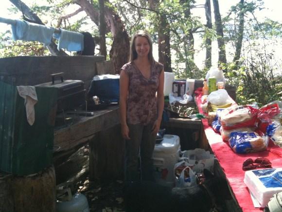 Cheryl in camp kitchen