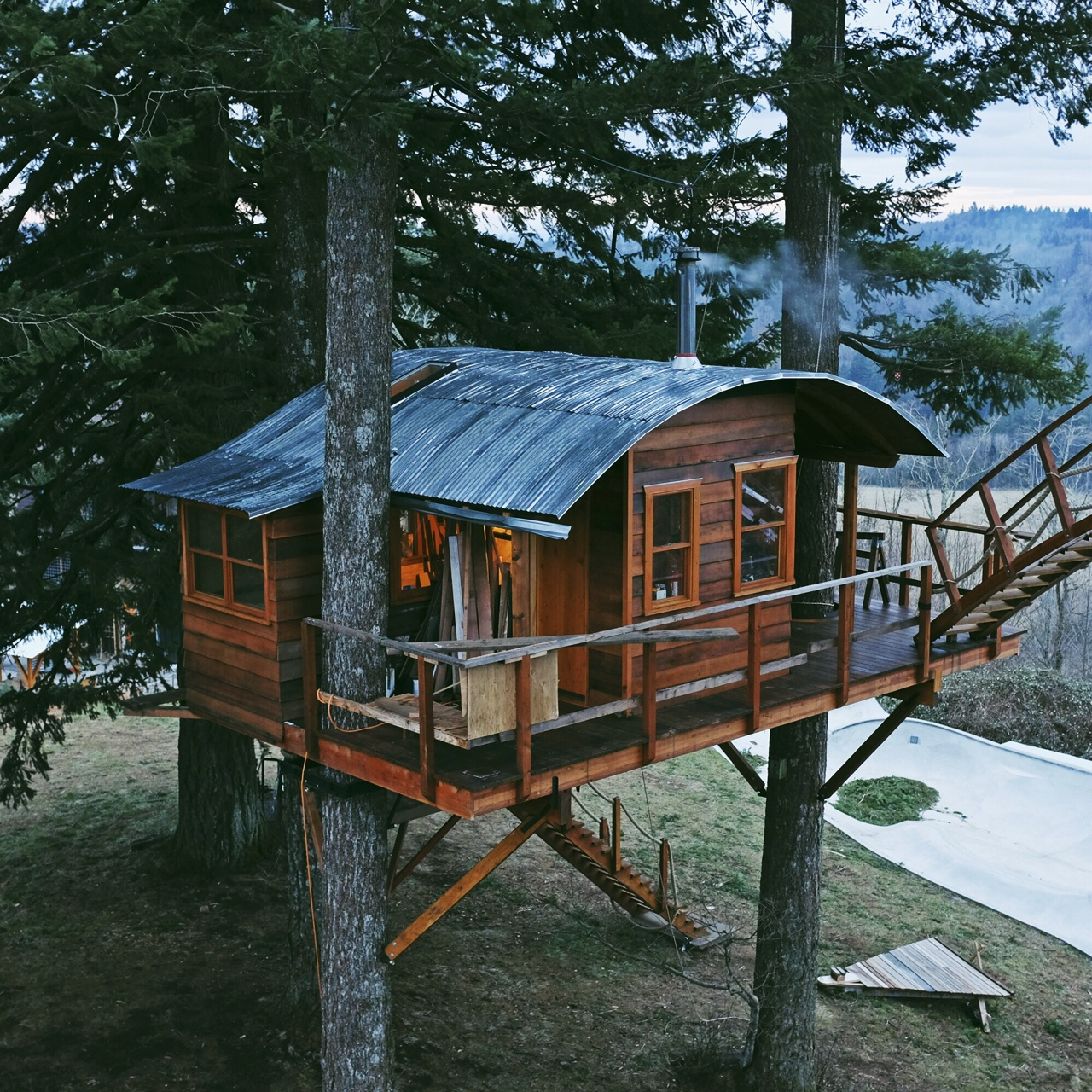 cinder cone  off grid tree house