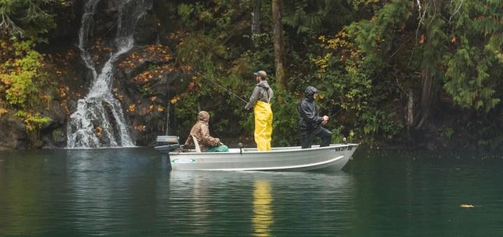 Fishing off grid cabin waterfall