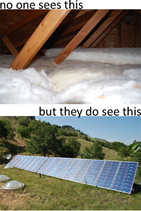 attic insulation vs. solar panels collage