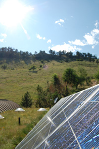 solar panels with mountain in background