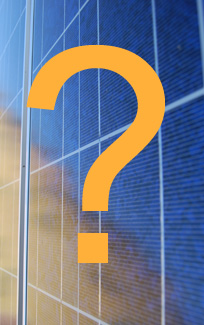 solar panel with big question mark superimposed on it