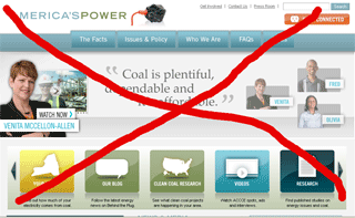 Computer screen shot of a coal propaganda web site.