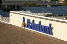 Solar panels on the roof of a California bank.