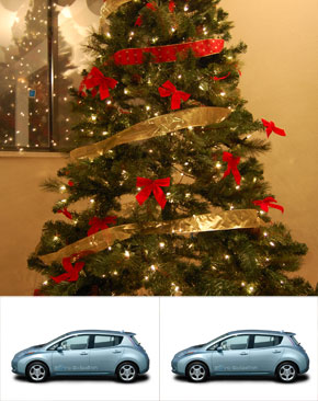 X-mas tree with Nissan LEAF at its foot