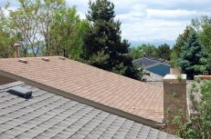 The view toward the west from our roof. In the distance, beyond the trees, you can see the Rocky Mountains.