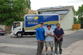 The primary REC Solar team that installed our system poses in front of their work. From left to right: Lead Installer Tim Brodersen, Electrician Dustin Dodson, Helper Joel Chacon. Thank you for your hard work!
