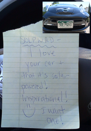 Someone left this note about my solar-charged car being inspiring on my Nissan LEAF.