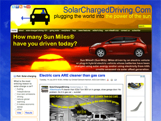 SolarChargedDriving.Com's old look -- with an Artisteer designed Joomla-based site.