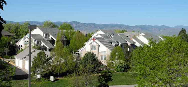 No solar on these condo roofs at Highline Crossing Cohousing in Littleton, Colo. -- although I'm hoping I might persuade them to allow me to install solar on my garage -- once I move in in late July 2017.