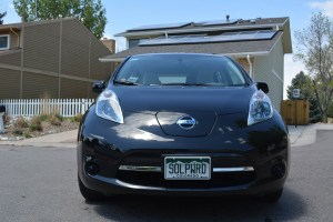 A home solar system can charge an electric car such as a Nissan LEAF.