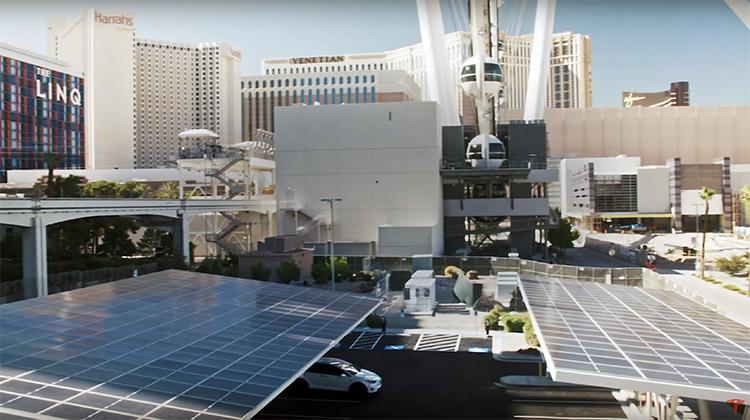 Tesla Supercharger station with solar in Las Vegas.