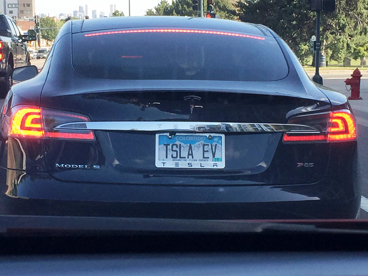 Tesla Model S with vanity license plate.