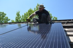 Solar panels are installed on our garage roof here in Highline Crossing Cohousing. [Photo by Christof Demont-Heinrich]