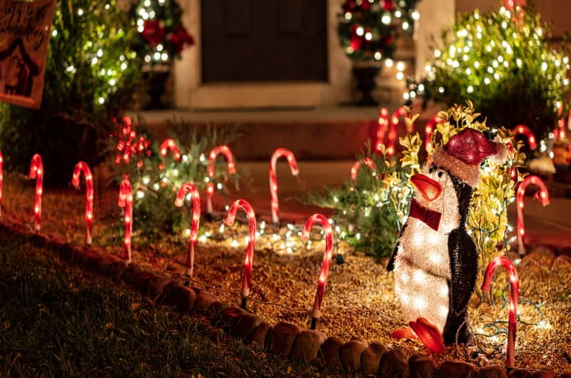 solar sugar candy and penguin light decoration for Christmas