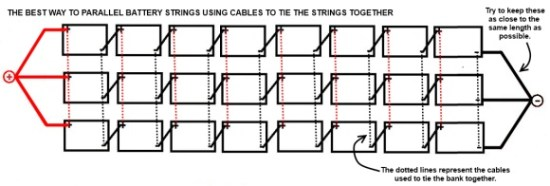 How to parallel battery strings