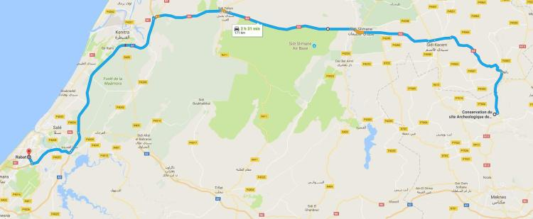 Driving from Rabat to Volubilis