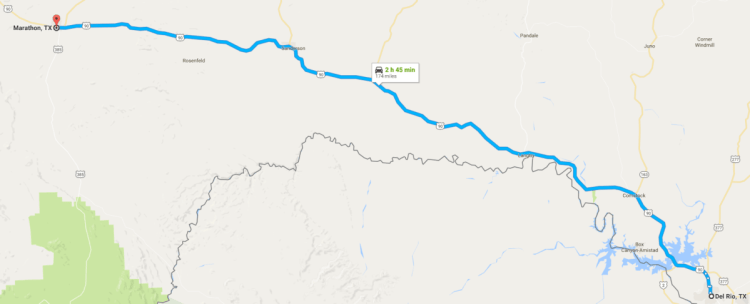 driving from del rio to marathon map