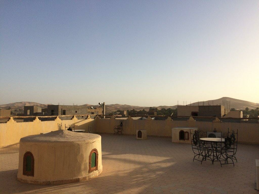 Roof Terrace at Riad Aicha, Hassi Labied