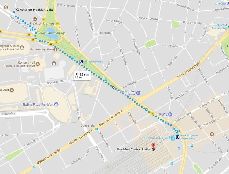 Directions to the NH Hotel Frankfurt Villa