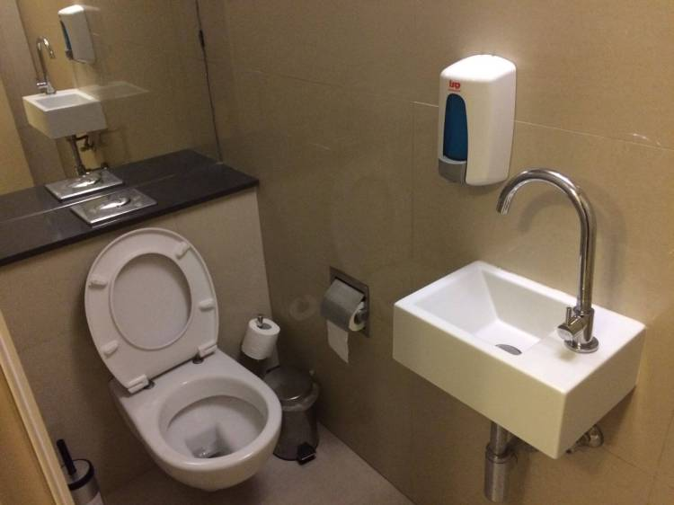 The toilet in the changing room