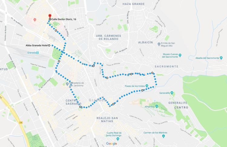 Granada Walking Tour Map