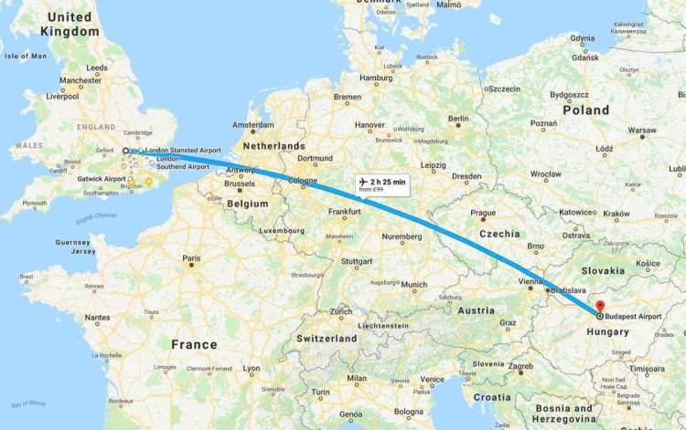Luton Budapest Flight Map
