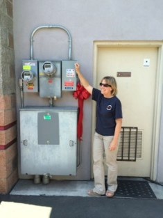 Mercer Island Auto Spa's Suzanne getting ready to throw the switch