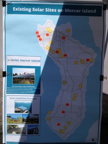 Map of existing solar sites on Mercer Island