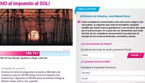spain solar tax petition screenshot from avaaz.org