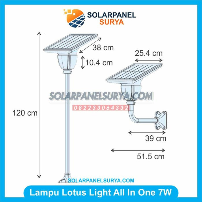 Lampu Taman Solar Cell Lotus Light 7w