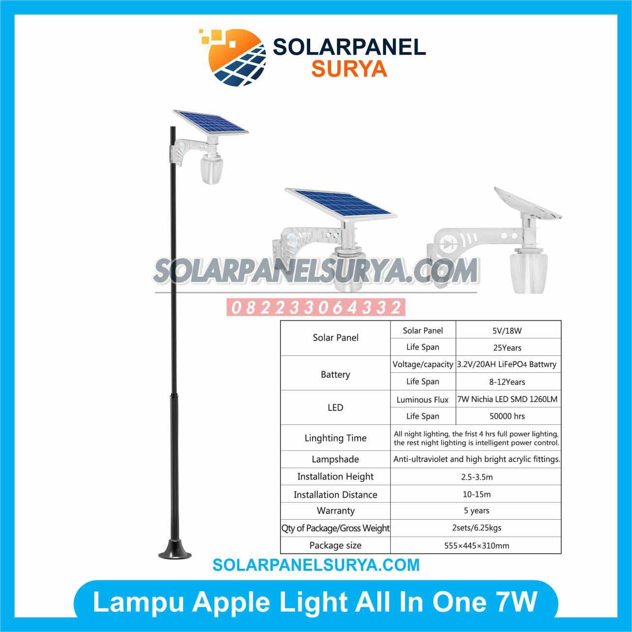 Jual Lampu Taman Tenaga Surya All In One Apple Light 7 Watt