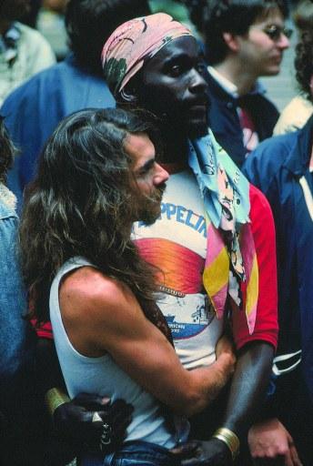 Gay Freedom Day - Couple Embracing, San Francisco, 1977 - Crawford Wayne Barton.