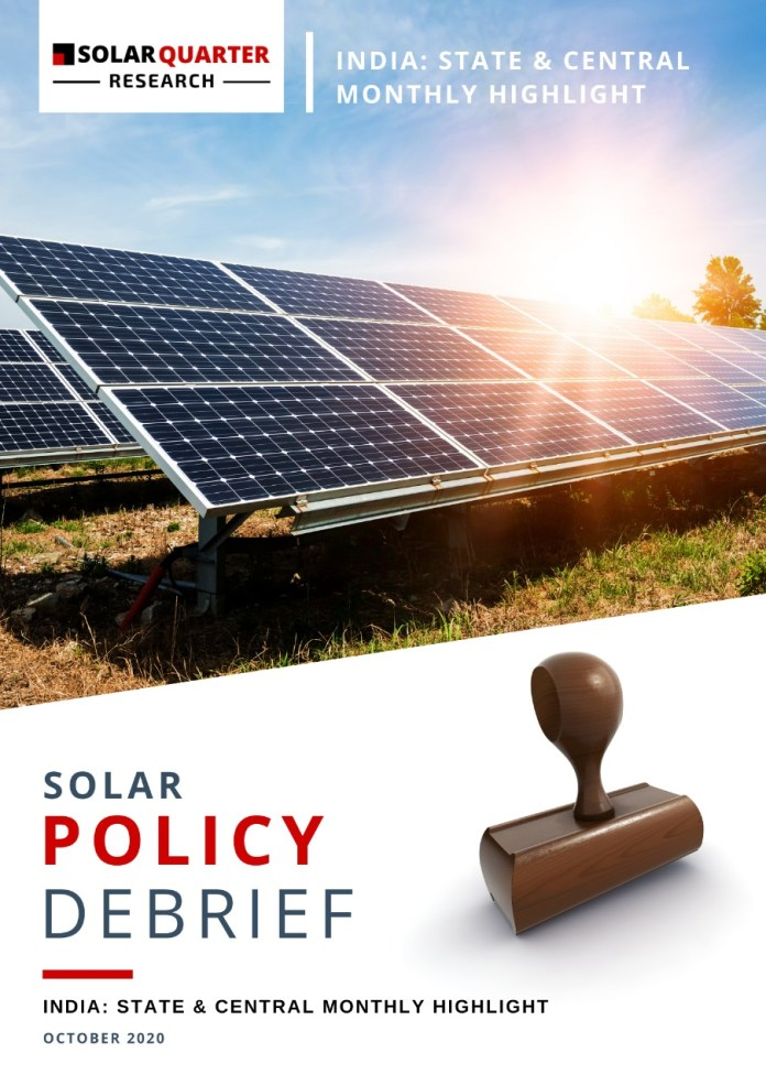 Solar Policy Debrief – State & Central Monthly Highlight,   October 2020