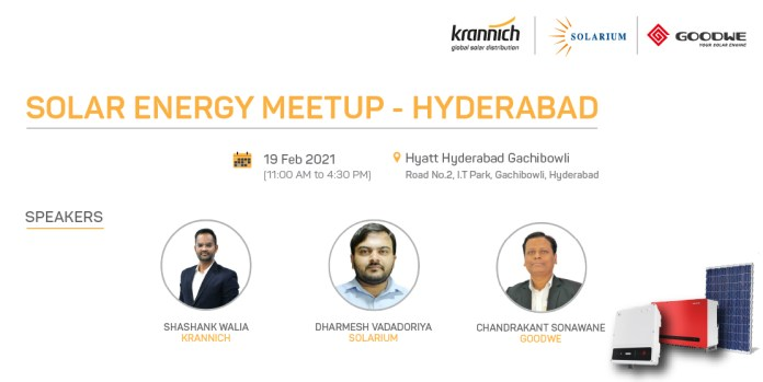 Solar Energy Meetup – Hyderabad    Limited Seats, Hurry Up! Register For Free: https://bit.ly/2MRBnrG
