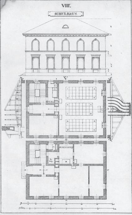 Gustav Vorherr's plans for a solar schoolhouse. (1820s)