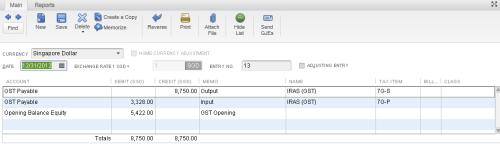 QuickBooks - GST Opening Balance