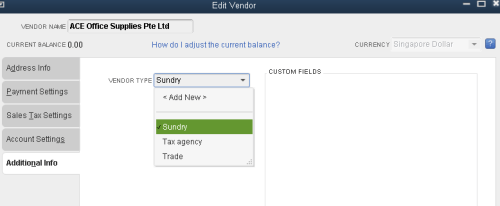 QuickBooks - Vendor Type