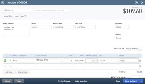 QBO Sales Invoice